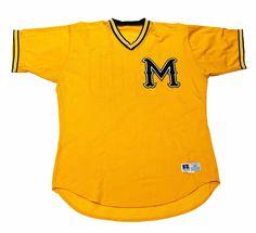Vintage 90s Yellow/Black M Baseball Jersey Mens Size 48 (XL) $35.00
