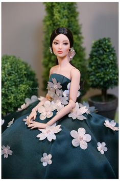 Cherry Blossom Dress for Fashion Doll Gene Barbie Wedding Dress, Barbie Gowns, Barbie Dress, Barbie Clothes, Fashion Royalty Dolls, Fashion Dolls, Cherry Blossom Dress, Barbies Pics, Diva Dolls