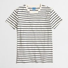 Crew Factory - Factory slim deck-striped T-shirt Outfits With Striped Shirts, Discount Mens Clothing, Summer Shirts, Striped Tee, Shirt Shop, Cool T Shirts, Men's Shirts, Mens Tops, Slim