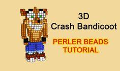 3D Crash Bandicoot perler beads hama beads iron beads pattern tutorial