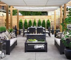 Outdoor living space. Backyard patio idea.