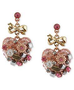 Betsey Johnson Earrings, Multi-Tone Vintage Heart Drop Earrings