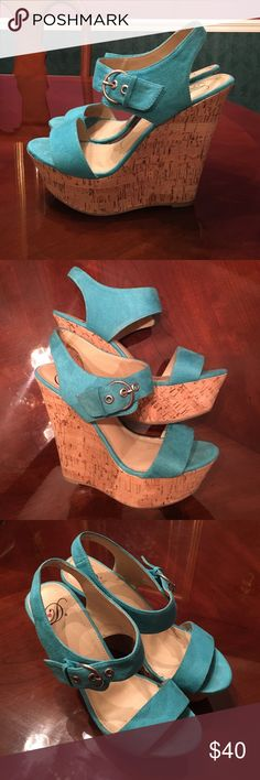 JustFab Platform Wedge Heels These beautiful light teal heels were only worn twice. The platform is 1 - 1 1/2 inches and the heel is about 4 inches from the ground. Basically brand new!!! *Designer unknown* Shoes Heels
