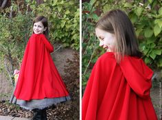 """red riding hood cape2 yards of red """"silky solid"""" fabric for cape (100% polyester, almost like satin but a nicer drape and really flowy, on sale for $5/yd)"""