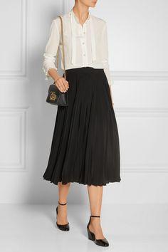 Gucci | Pleated silk-crepe midi skirt | NET-A-PORTER.COM