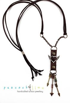Love Struck Arrows Artisan Statement Necklace // leather & mixed metals winged heart and arrows pendant // handmade // ready to ship - pinned by pin4etsy.com