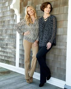 Herringbone blouse, Mystic dots blouse, essential tank and knit denim jeans l #ColdwaterCreek