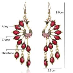 Vintage Alloy Peacock Long Crystal Tassel Earrings for Women online - NewChic