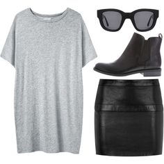 A fashion look from December 2013 featuring Organic by John Patrick t-shirts, Yves Saint Laurent mini skirts y Acne Studios sunglasses. Browse and shop related…