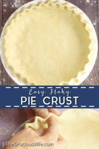 Buttery, easy, flaky pie crust recipe that turns out perfect every time. Easy to make with just 5 basic ingredients! Easy Flaky Pie Crust Recipe, Pie Dough Recipe, Homemade Pie Crusts, Pie Crust Recipes, Pie Crust Recipe With Margarine, Pie Crust With Lard, Pie Crust With Shortening, Chicken Pie Recipe Easy, Quiche Crust Recipe