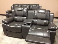 Leather Reclining Living Room Set - Grey