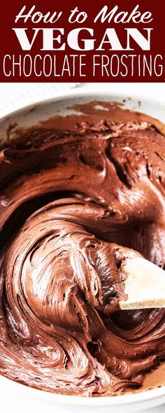 This easy vegan chocolate frosting is made with just three ingredients! It's perfect for cupcakes, layer cakes, or anything else that needs a little frosting. #vegan #chocolate #frosting #chocolatefrosting