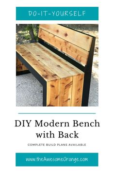 DIY Modern Bench with Back – Complete build plans available from wwwtheAwesomeOra… - DIY Craft Ideas