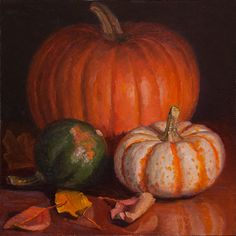 Wang Fine Art: pumpkins painting still life contemporary