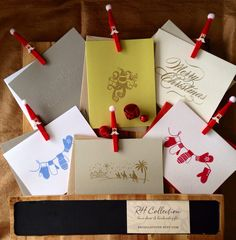 Handstamped Christmas Cards - Embossed Holiday Cards - Calligraphy Merry Christmas - Set of 5 Cards on Etsy, $7.00