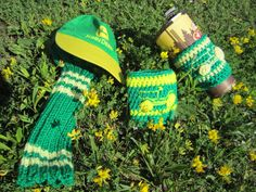 "John Deere themed knitting paired with an Upcycled Baby hat.  ""Caddyshack Creative""  on Etsy... Head Covers and Golf Head Racks by Morgan and Lori  See ravelry.com Lorisav or visit Ferns GC in Markdale, ON."