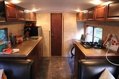 Converted school bus kitchen.