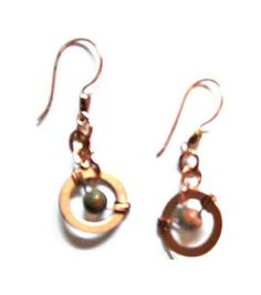 Wire Wrapped Copper Earrings with Natural by whatsingramasdrawers, $8.00