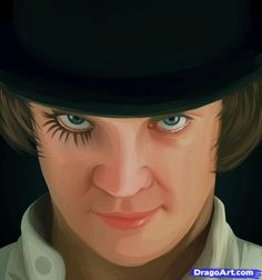 How To Draw Alex, A Clockwork Orange, Step by Step, Drawing Guide, by Dawn Halloween Cat, Halloween Makeup, Halloween Ideas, Clockwork Orange Costume, Rhyming Slang, Parts Of The Nose, Crime Film, Orange Makeup, Eye Sketch