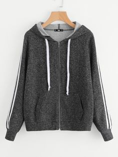 Shop Striped Sleeve Marled Knit Zip Up Hoodie online. SheIn offers Striped Sleeve Marled Knit Zip Up Hoodie & more to fit your fashionable needs.