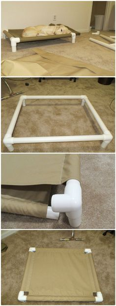 DIY PVC Pipe Dog Cot - 48 DIY Projects out of PVC Pipe You Should Make #DogStuff Pvc Dog Bed, Dog Beds, Bed For Dogs, Pet Beds Diy, Dog Hammock, Pipe Diy Projects, Pvc Pipe Crafts, Diy Projects Videos, Baby Diy Projects