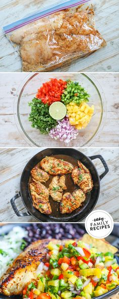 Fresh + FAST + Delicious! This Pineapple Salsa Chicken recipe is one of our favorite summer recipes because it packs in all the flavor and is still light and healthy! The sweet and savory combo makes this recipe kid friendly and adults love all of the flavor packed into this dish. If you want a dinner that is healthy and filling, this easy chicken recipe is perfect! Recipe Using Chicken, Yummy Chicken Recipes, Yum Yum Chicken, Easy Meals For One, Easy Family Meals, Summer Recipes, Easy Dinner Recipes, Easy Recipes, Healthy Recipes