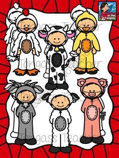 Costume Kids Farm Animals Clipart Bundle from tongassteacher on TeachersNotebook.com -  (24 pages)  - This farm animal themed 24 piece clipart bundle features kids in a variety of farm animal costumes including a pig, goat, duck, chicken, cow and pig!