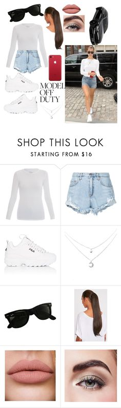 """""""Another off duty model"""" by thelivingpencil ❤ liked on Polyvore featuring Majestic, Nobody Denim, Fila, Ray-Ban, Avon and Mercedes-Benz"""