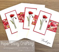 card making paper Paper Daisy Crafting: Painted Poppies customer thank you card Paper Daisy, Paper Flowers, Poppy Cards, Stampin Up Catalog, Stamping Up Cards, Card Making Techniques, Card Sketches, Valentine Day Cards, Cool Cards