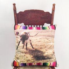 Totem Salvaged Longhorn Steer Pillow