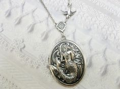 Silver Locket Necklace The ORIGINAL MERMAID LOCKET by birdzNbeez