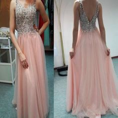 2017 Long Pink Beading Sparkly Elegant Sexy Open Back Formal Evening Prom Dresses. RG0051