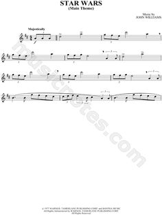 Print and download Star Wars - Alto Saxophone sheet music from Star Wars arranged for Alto Saxophone. Instrumental Part in D Major.