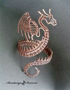 Dragon - wire wrapped bracelet by Anastasiya Ivanova - This is inspiring!