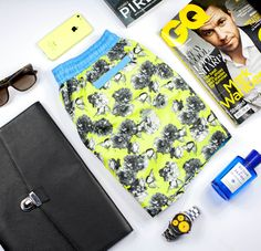 YELLOW FLORAL SHORT STYLE GUIDE |  Featuring Aqua Di Palma, GQ Magazine, Havaianas, iPhone, Mulberry, Raybans, Rolex & Sony | Shop the collection at thomasroyall.com Tropical Colors, Gq Magazine, Floral Shorts, Ss 15, Swim Shorts, Workout Shorts, Style Guides, Rolex, Sony