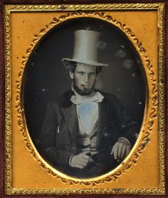 tuesday-johnson:    ca. 1848, [daguerreotype portrait of a gentleman with a top hat and cigar]  via I Photo Central