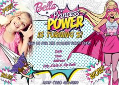 Barbie in Princess Power Birthday Invitation 5x7 or 4x6 Inches