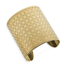 Gold-Tone Clear Wide Monogram Cuff Bracelet