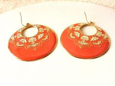 """10% OFF Earrings Pinky/Orange Tangerine + White Enamel & Gold Tone 2 3/4"""" Donut Dangles Pierced Perfet Condition SHIPPING SPECIAL 0723 13072 by GailsGreatGoodies on Etsy"""