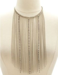 rhinestone & chain fringe choker necklace