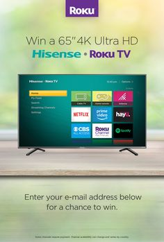 Make all your streams come true: enter here for a chance to win a Hisense Roku TV! Netflix Videos, Canadian Contests, Tv Game Console, Disney Movie Rewards, Official Rules, Gift Card Generator, Write It Down, Things To Know, Pesto Shrimp