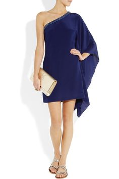 Roberto Cavalli|One-shoulder embellished silk-crepe dress|NET-A-PORTER.COM