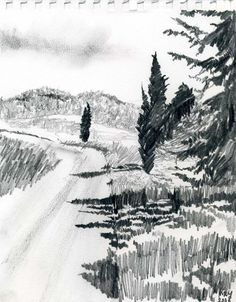 Marie-Louise Martin landscape sketch with trees Landscape Sketch, Landscape Drawings, Landscape Art, Landscape Architecture, Tree Drawings Pencil, Art Drawings Sketches, Nature Sketch, Nature Drawing, Art Sketchbook