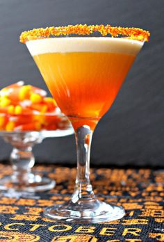 Candy Corn Martini uses candy corn infused vodka. Let it work its magic overnight for best results.