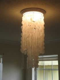Shoestring Pavilion: Faux capiz shell chandelier. Definitely doing this in my room!