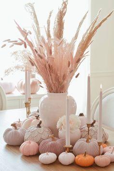 Harvest Decorations, Thanksgiving Decorations, Halloween Decorations, Holiday Decor, Pink Halloween, Pink Pumpkins, Baby In Pumpkin, Pink Pumpkin Party, Pumpkin Centerpieces