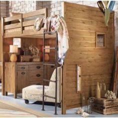Furniture Ideas For Small Bedroom Design : Cool Small Brick Wall Bedroom Design With Casual Wooden Loft Beds And Ladder Ideas With Natural W. Cool Loft Beds, Loft Bunk Beds, Modern Bunk Beds, Bunk Beds With Stairs, Kids Bunk Beds, Bunk Beds For Adults, Queen Loft Beds, Adult Loft Bed, Adult Bunk Beds