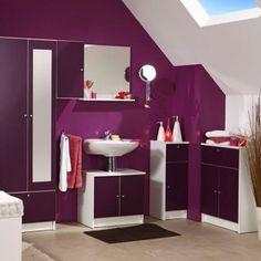 meuble de salle de bain mural deko aubergine l 295 x h 56 - Meuble Salle De Bain Aubergine