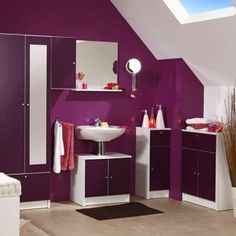 Meuble de salle de bains opale aubergine salle de bains - Salle de bain aubergine et gris ...