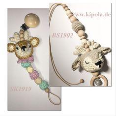 Schnullerkette Reh & Reh Babyschalen Anhänger auch in anderen Farben möglich Tutorials, Deer, Flower Crochet, Baby Favors, Kids Wagon, Handmade, Colors